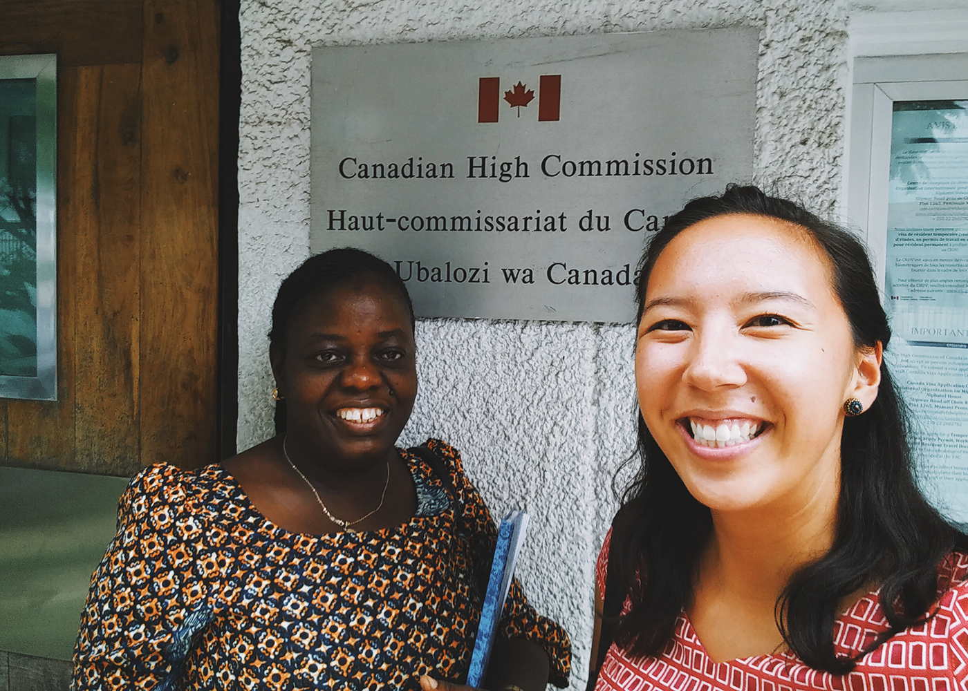 Hilary and EQWIP HUBs Tanzania Country Manager Stella Mayenje after a meeting at the Canadian High Commission in Dar es Salaam.