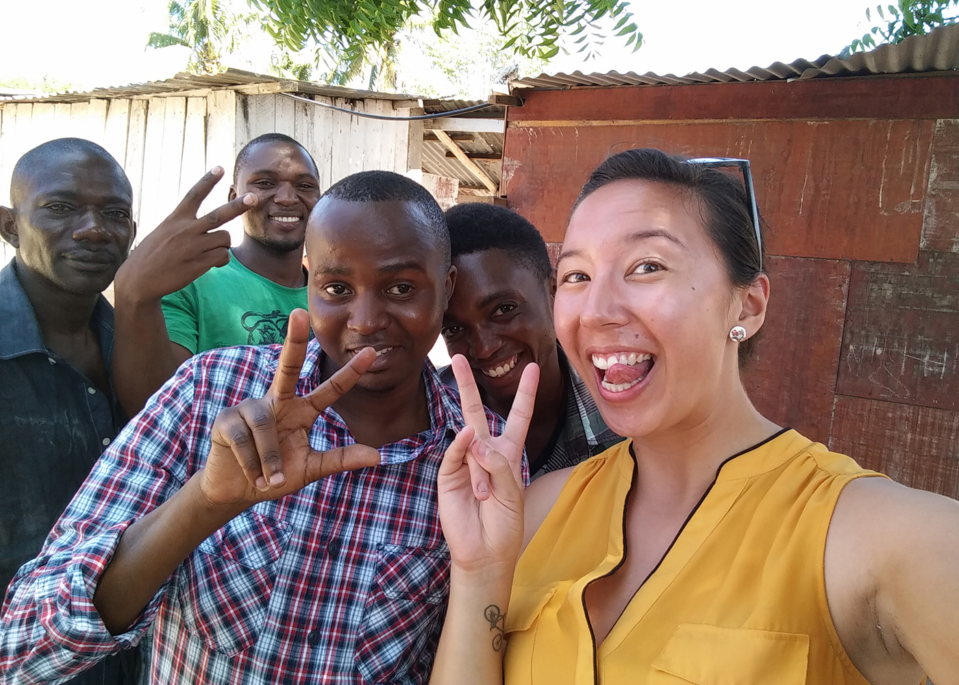 New friends in Kigamboni, a neighbourhood of Dar. The photo was taken after we did a needs assessment with their youth group.