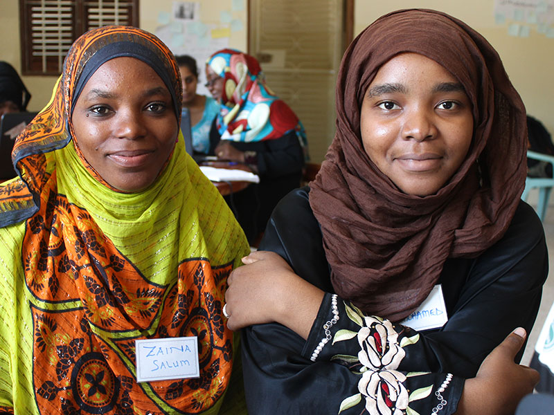 The first youth participants taking part in livelihoods programming at the EQWIP HUB in Zanzibar, Tanzania