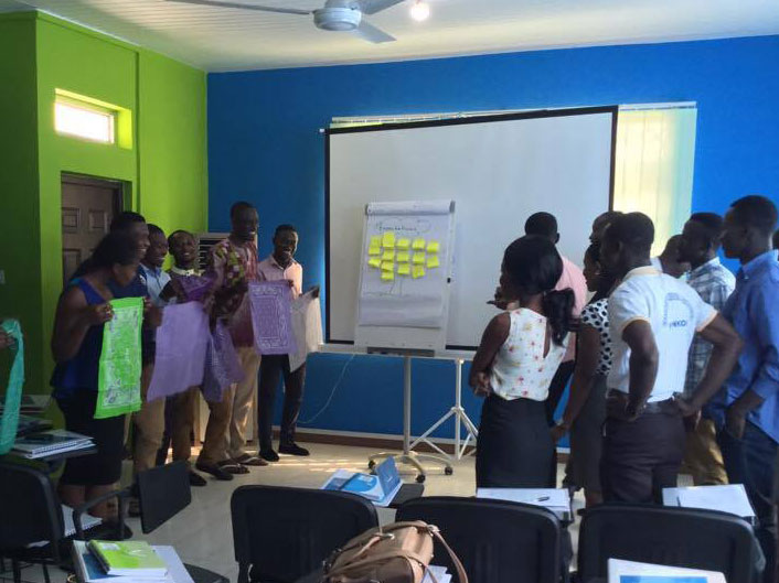 Ghanaian youth participating in livelihoods training at the EQWIP HUB in Accra, Ghana