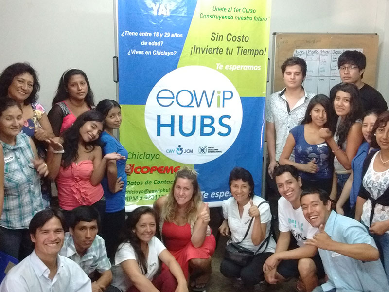 EQWIP HUBs staff, youth participants and Canadian volunteers in Lima, Peru