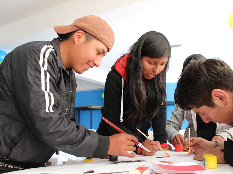 Youth participants in employment workshops in Bolivia